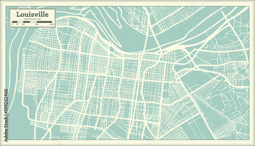 Louisville Usa Map.Louisville Kentucky Usa City Map In Retro Style Outline Map Buy