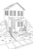 Street road graphic house black white landscape vertical sketch illustration vector - 199235457