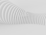Abstract of white curved architectural pattern background,Concept of future modern facade design on architecture,3d rendering