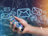 Blue Email symbol displayed on a futuristic interface - Message and internet concept