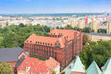 The beautiful, old Polish city Wroclaw seen from the observation tower