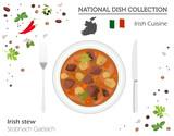Irish Cuisine. European national dish collection. Irish stew  isolated on white, infographic
