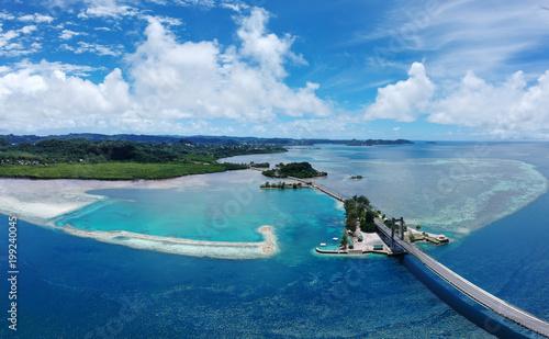 Palau Koror Bridge Micronesia, areal view coral beach