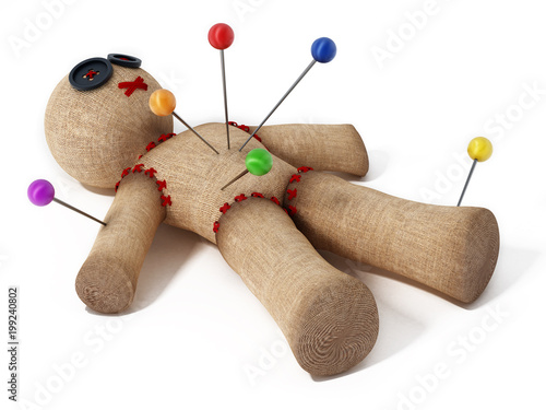 Voodoo doll with needles isolated on white background.