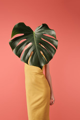 woman covering face with monstera leaf isolated on red