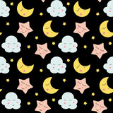 Cute Clouds, Star and Moons  Seamless Pattern Background Vector Illustration