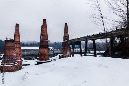 Fotobehang Oude verlaten gebouwen abandoned marble factory, Karelia, Russia