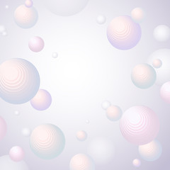 Abstract fashion background Volumetric sphere on a light background Decorative futuristic circles in the luminous space A creative modern composition from spheres a fashion design concept Vector ball