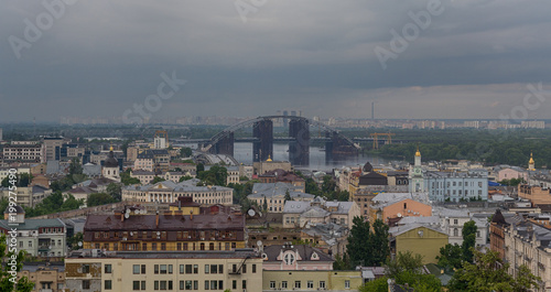 Foto op Plexiglas Kiev Panoramic view of the Dnieper River and the historical part of the city of Kiev. Ukraine
