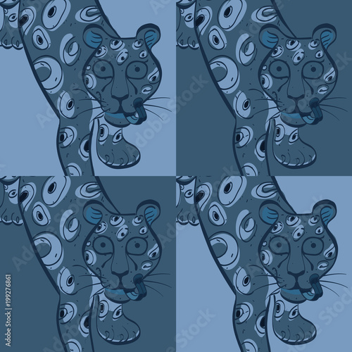 Fototapeta Leopard modern seamless design, natural background with touch of color