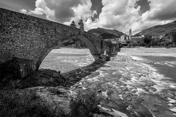 ancient medieval bridge - Bobbio Italy - black and white image