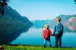 little boy and girl travel in Norway looking at nature