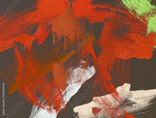 Canvas Rood traf. Abstract painting on canvas. Hand made art. Colorful texture. Modern artwork. Strokes of fat paint. Brushstrokes. Contemporary art. Artistic background image.