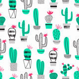 Cactus kid seamless pattern. Vector decoration. - 199293626