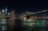 Night view of the skyscrapers of Manhattan, New York, USA, from the Brooklyn area