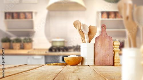desk space and kitchen interior