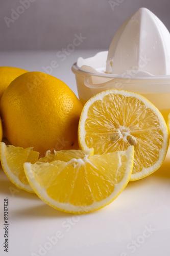 Fotobehang Sap Lemon and juice on a white background