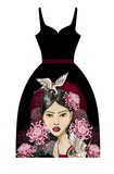 Design dress with fashion Japanese girl, cranes and flowers. Vector illustration.
