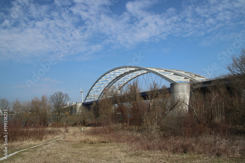 Keuken foto achterwand Rotterdam bridge (van Brienenoordbrug) on the forest on the island of Brienenoord in Rotterdam