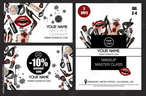 Banner Business And Discount Card For Master Class Makeup Artist