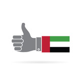 UAE country flag thumbs up vector icon