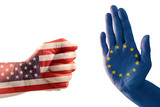trade conflict, fist with USA flag against a hand with European flag, isolated on a white background - 199320438