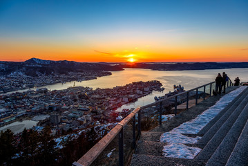 Sunset in Bergen from Floien