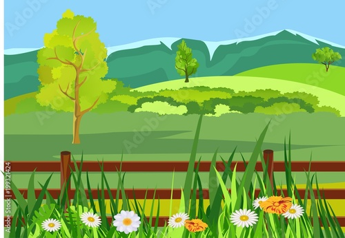 Fotobehang Lime groen Vector illustration of countryside among the green hills fence in meadow grass horizon with hills and mountains