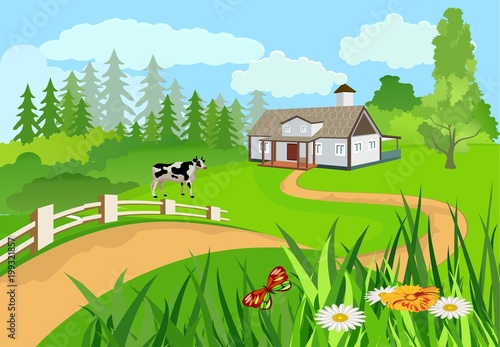 Fotobehang Pool Vector illustration of a countryside among the green hills