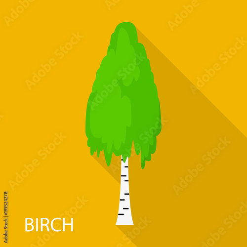 Birch icon, flat style - 199324278