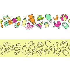 Baby. Newborn. Cute horizontal seamless pattern in doodle and cartoon style. Colorful. Vector. EPS 8