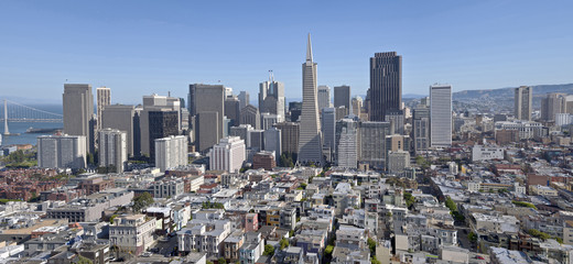 San Francisco skyline and residential area.