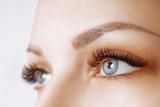 Eyelash Extension Procedure. Woman Eye with Long Eyelashes. Close up, selective focus. - 199330498