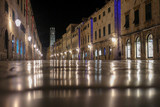Walled city at night, Dubrovnik, Croatia.