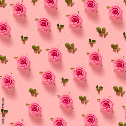 Pink roses on a pastel pink background