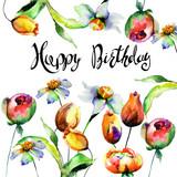 Original flowerswith title Happy Birthday