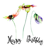 Stylized flowers watercolor illustration with title Happy Birthday.