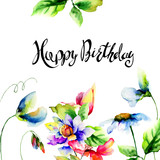 Floral template for card with title Happy Birthday