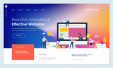 Effective website template design. Modern flat design vector illustration concept of web page design for website and mobile website development. Easy to edit and customize. - 199339847