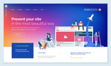 Effective website template design. Modern flat design vector illustration concept of web page design for website and mobile website development. Easy to edit and customize. - 199340287