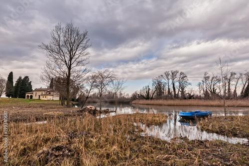 Foto op Aluminium Cappuccino Rural landscape with church.