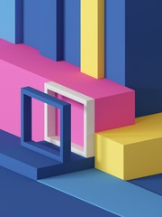 3d render, abstract geometric background, primitive shapes, toys, cube, colorful rectangular blocks