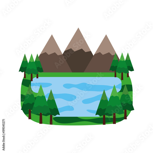 Poster Wit mountains and lake in forest landscape vector illustration design