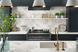 Cucina moderna realistica, design minimal in legno e marmo, render 3d - 199345418