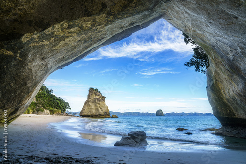 Foto Spatwand Cathedral Cove view from the cave at cathedral cove,coromandel,new zealand 50