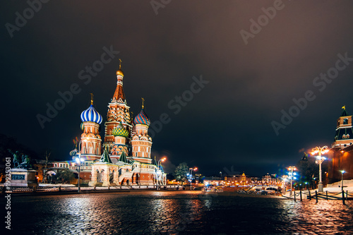 Fotobehang Moskou St Basil's cathedral on Red Square, Moscow, Russia