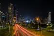 city at night, street traffic with modern skyscraper skyline - 199358632