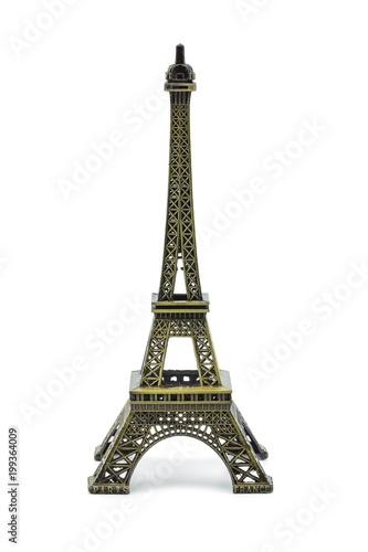 Plexiglas Eiffeltoren Statue of eiffel tower isolated on white background