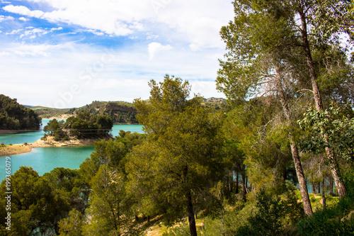 "Fotobehang Blauwe hemel Landscape. View of the lake ""El Chorro"" Malaga, Spain."