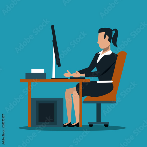 Business woman at office using computer vector illustration graphic design
